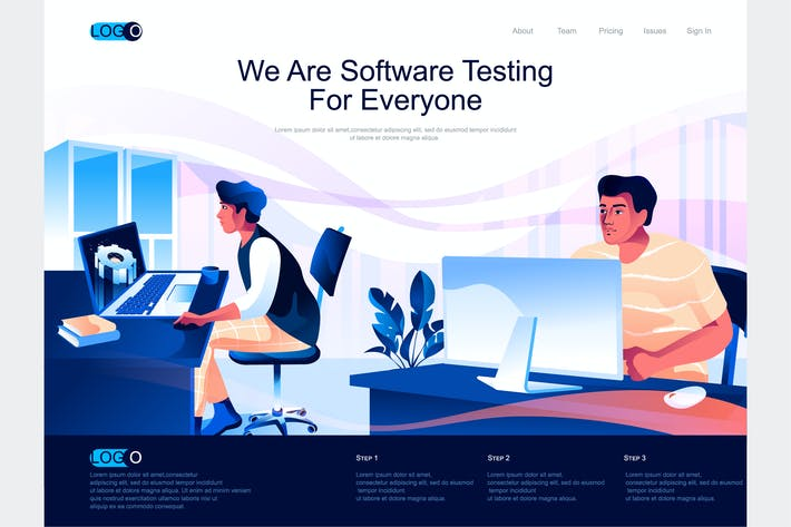 Thumbnail for Software Testing Isometric Landing Page Template