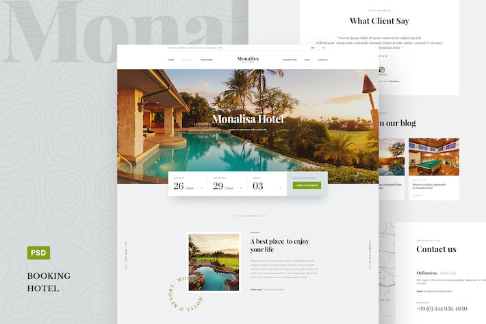 Thumbnail for Monalisa - A Premium Booking Hotel PSD Template