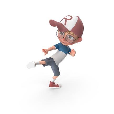 Dibujos animados Boy Harry Learning Artes Marciales