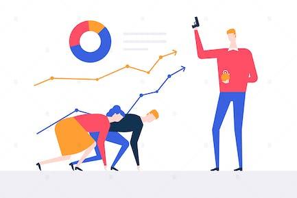 Business-Wettbewerb - flaches Design Illustration