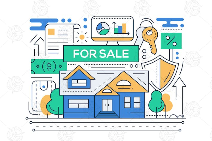 Thumbnail for Real Estate - line design style illustration