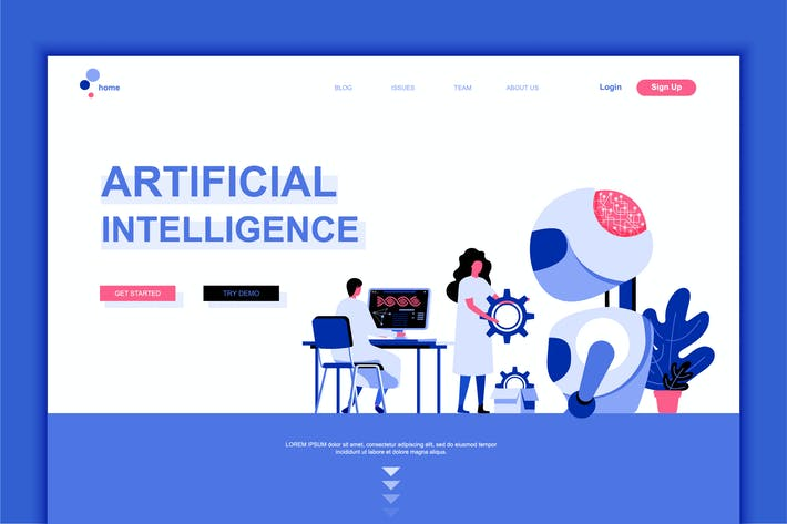 Thumbnail for Artificial Intelligence Flat Landing Page Template
