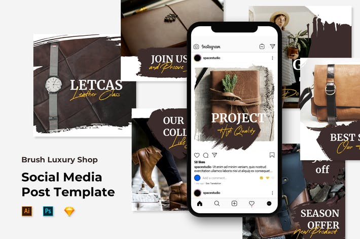 Thumbnail for Social Media Posts Templates - Brush Luxury Shop