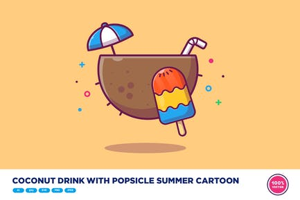 Coconut Drink With Popsicle Summer Cartoon