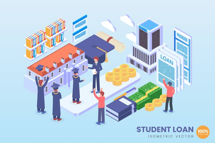Thumbnail for Isometric Student Loan Vector Concept