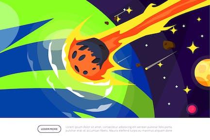 Asteroid Crashing Earth - Space Illustration Scene