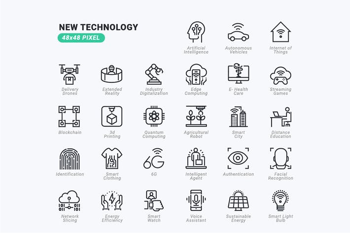 Thin Line Icons Set of New Technology