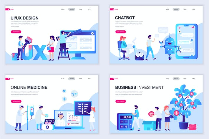 Set of Landing Page Templates Flat Concept by alexdndz on