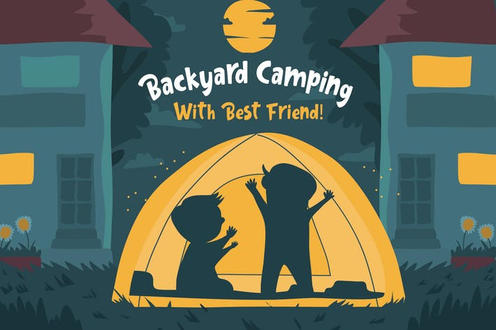 Thumbnail for Backyard Camping - Vector Illustration
