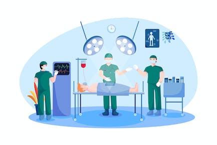 Chirurgen Team umgebenden Patienten