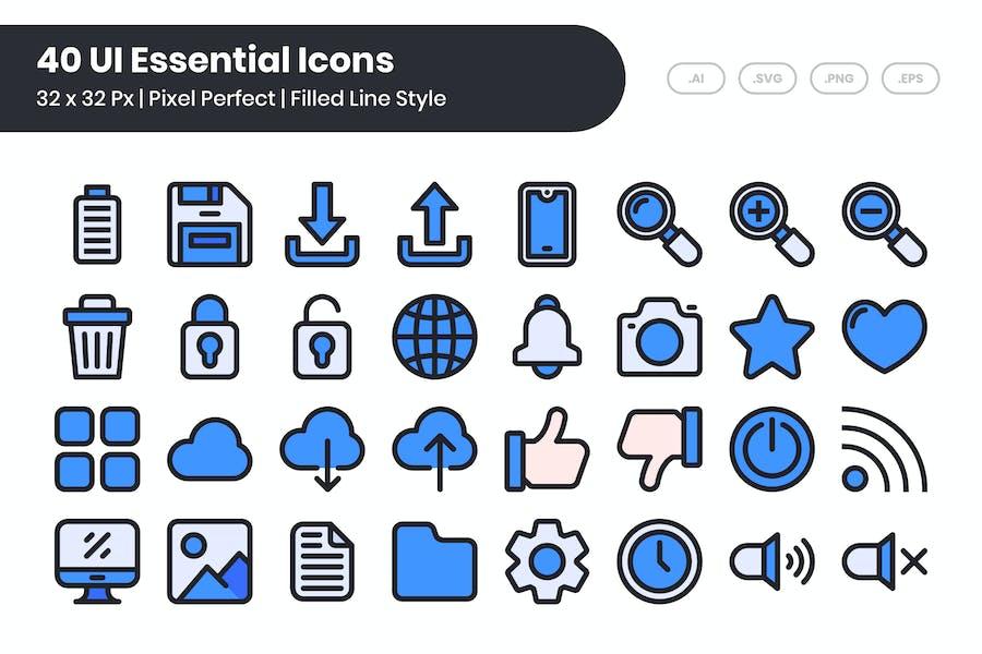 Conjunto de 40 Íconos esenciales de la interfaz de usuario - Línea rellena