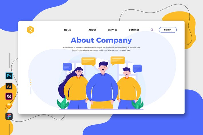 Thumbnail for About Company - Web & Mobile Landing Page