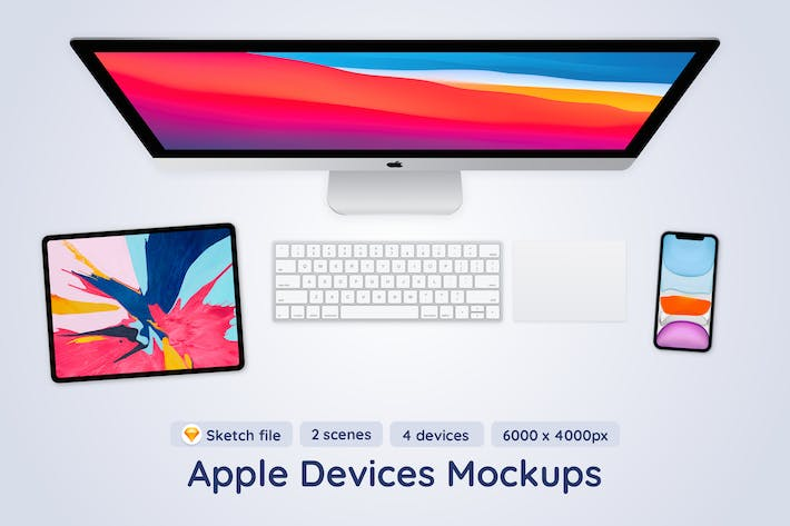 Apple Devices Top View Sketch Mockup