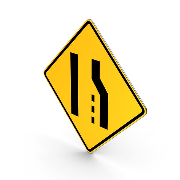 Road Sign Right Lane Ends