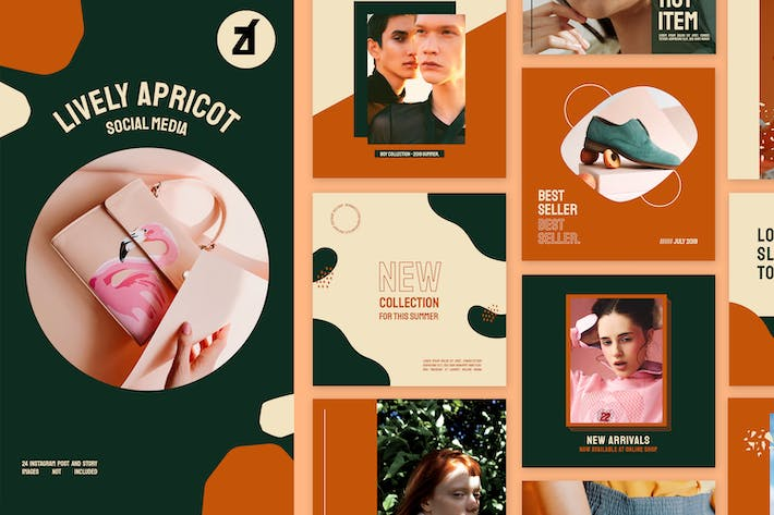 Thumbnail for Lively apricot social media graphic templates