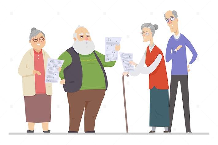 Senior people singing - flat design illustration