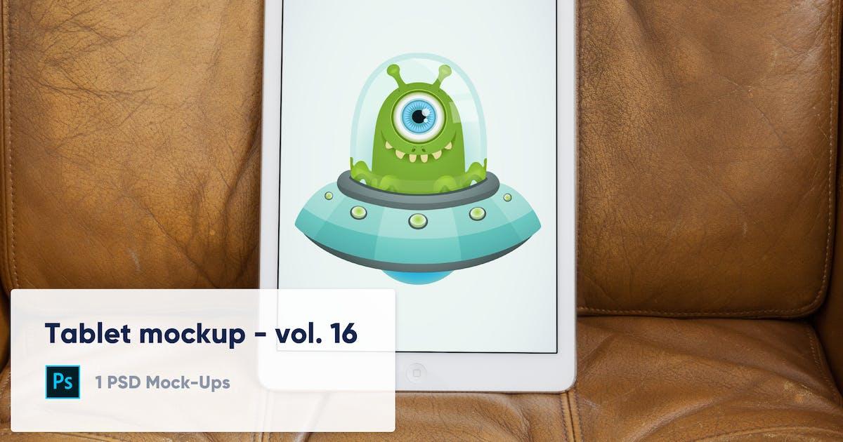 Download Tablet on Brown Leather Background Mockup - Vol.16 by maroskadlec