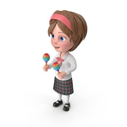 Cartoon Mädchen Meghan Spielen Maracas