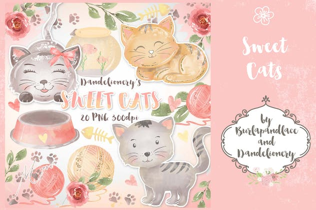 Watercolor Sweet Cats Clipart