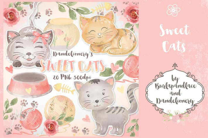 Thumbnail for Watercolor Sweet Cats Clipart