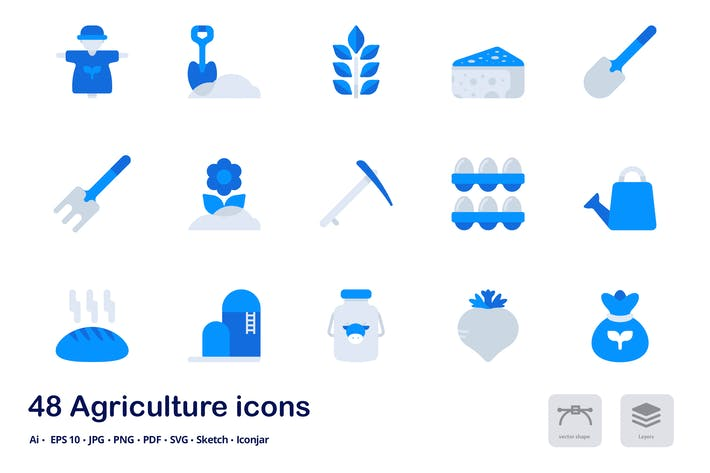 Agriculture Accent Duo Tone Flat Icons