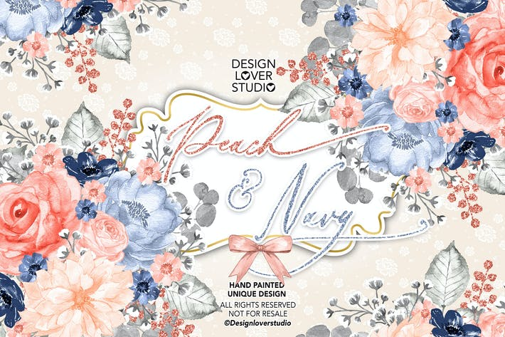 Cover Image For Watercolor Peach and Navy design