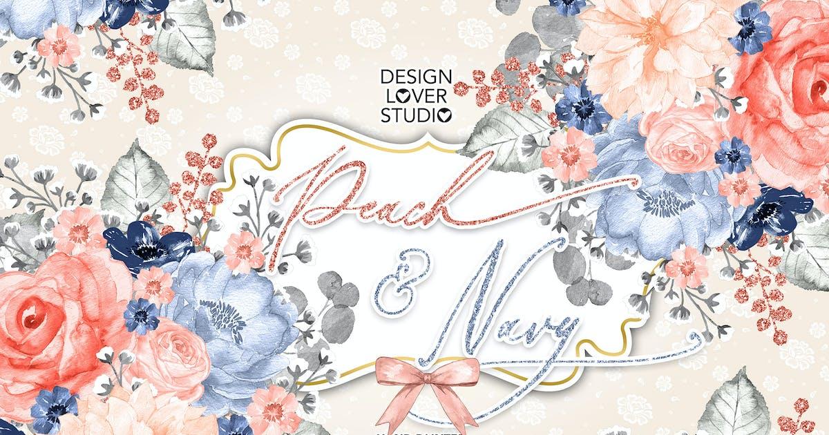 Download Watercolor Peach and Navy design by designloverstudio
