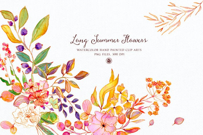 Thumbnail for Long Summer Flowers - watercolor set