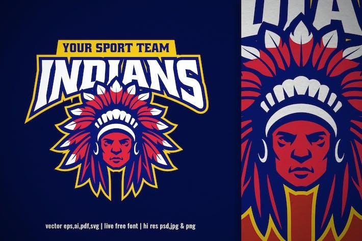 indian chief head mascot logo
