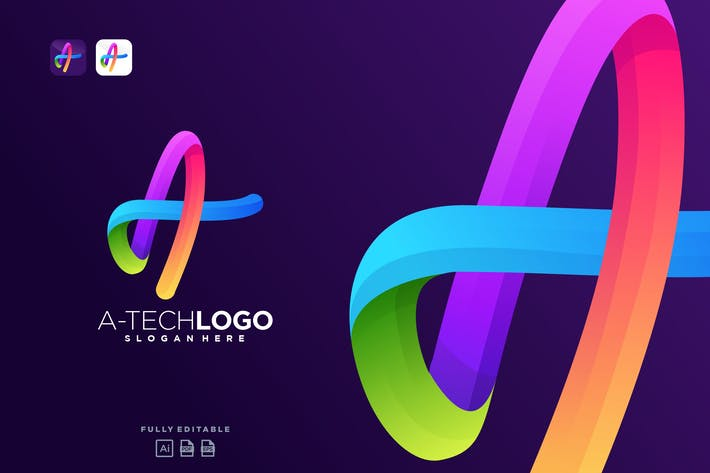 Colorful Tech Logo Letter A Technology