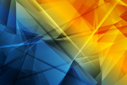 Glossy blue orange abstract low poly shapes