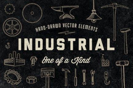 Handgezeichnete Industrieelemente