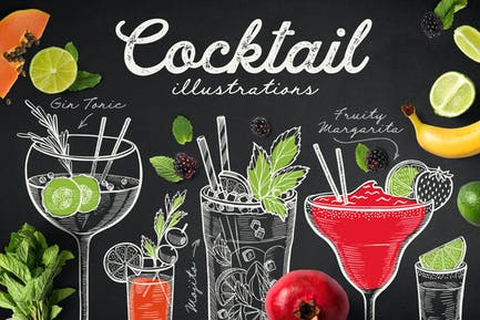 Alcohol Cocktails Hand-Drawn Graphic
