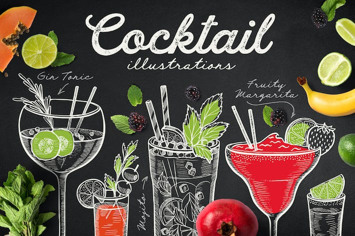 Thumbnail for Alcohol Cocktails Hand-Drawn Graphic