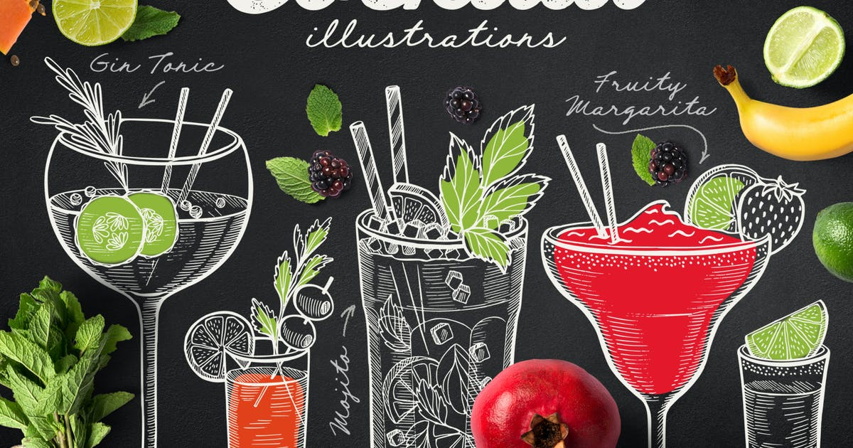 Download Alcohol Cocktails Hand-Drawn Graphic by BarcelonaDesignShop