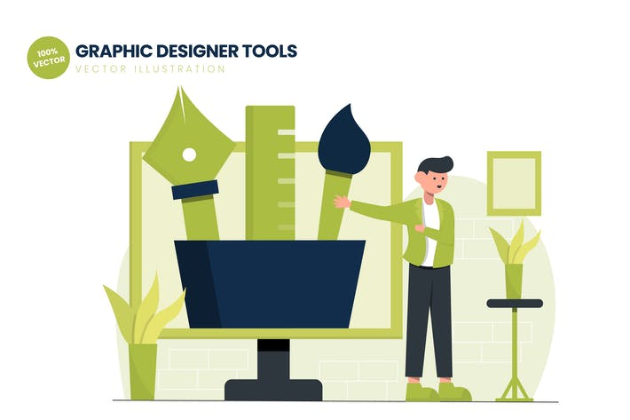 Thumbnail for Graphic Designer Tools Flat Vector Illustration