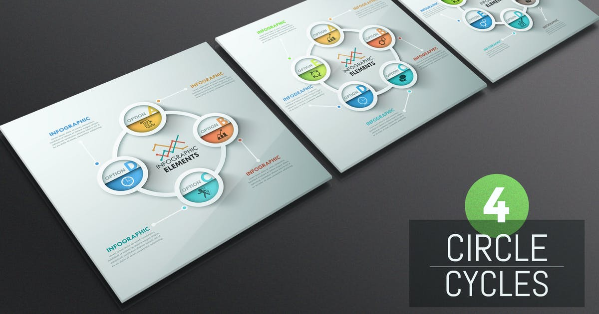 Download 4 Circle Cycles Infographics by Andrew_Kras