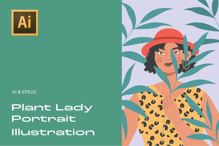 Thumbnail for Plant Lady Portrait Illustration 3