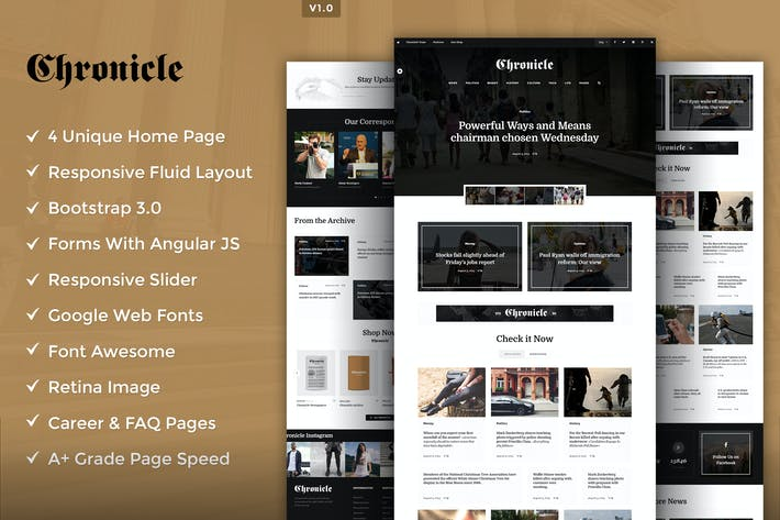 Thumbnail for Chronicle Premium HTML5 Template