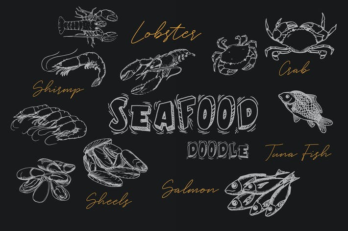 Thumbnail for Seafood Handrawn Doodle