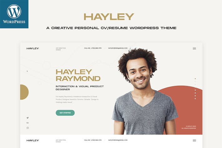 Thumbnail for Hayley - Personal CV/CV WordPress Thème