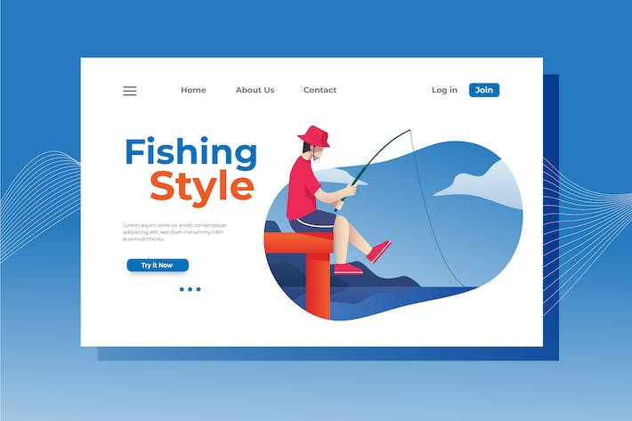 Thumbnail for Fishing Style Landing Page Illustration