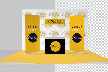 Exhibition Stand with Printable Materials Mockup