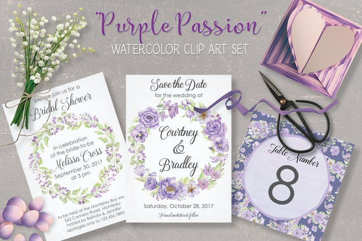Thumbnail for Purple Passion: Watercolor Clip Art Bundle