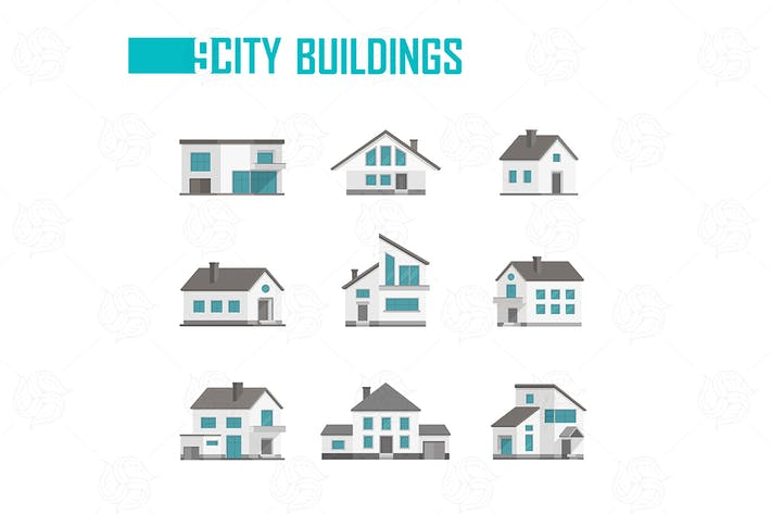 Thumbnail for Nine small city buildings set of objects