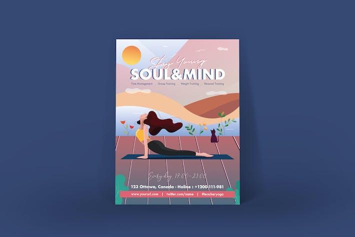 Thumbnail for Beautiful Girl Yoga Training Poster Illustrator