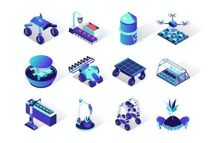 Agriculture Robotisation Isometric Icons Set