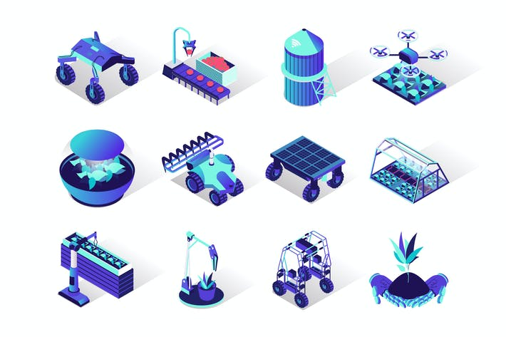 Thumbnail for Agriculture Robotisation Isometric Icons Set
