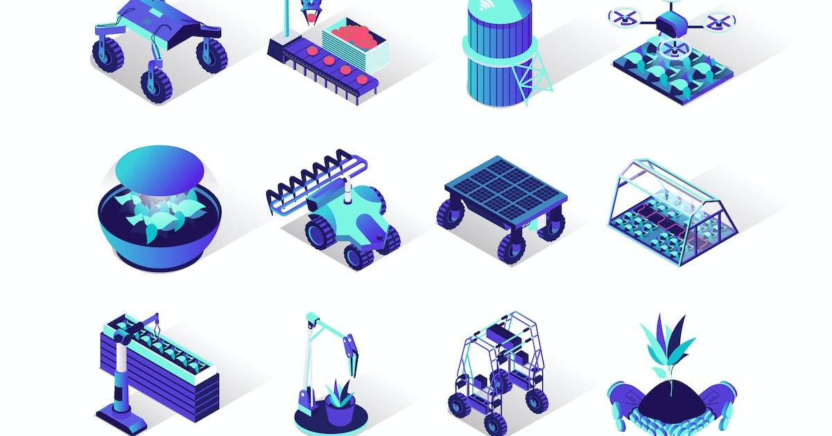 Download Agriculture Robotisation Isometric Icons Set by alexdndz