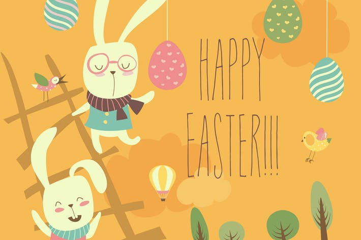 Thumbnail for Funny easter bunnies with flowering branches
